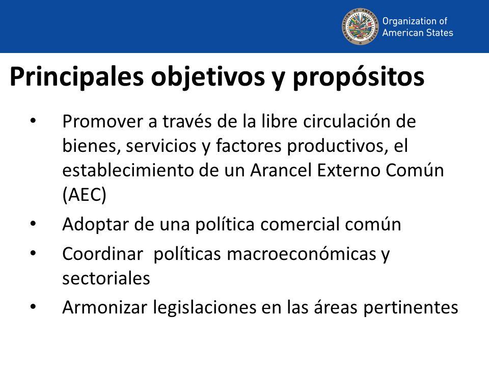Principales objetivos y propósitos Promover a través de la libre circulación de bienes, servicios y factores productivos, el establecimiento de un Arancel Externo Común (AEC) Adoptar de una política comercial común Coordinar políticas macroeconómicas y sectoriales Armonizar legislaciones en las áreas pertinentes