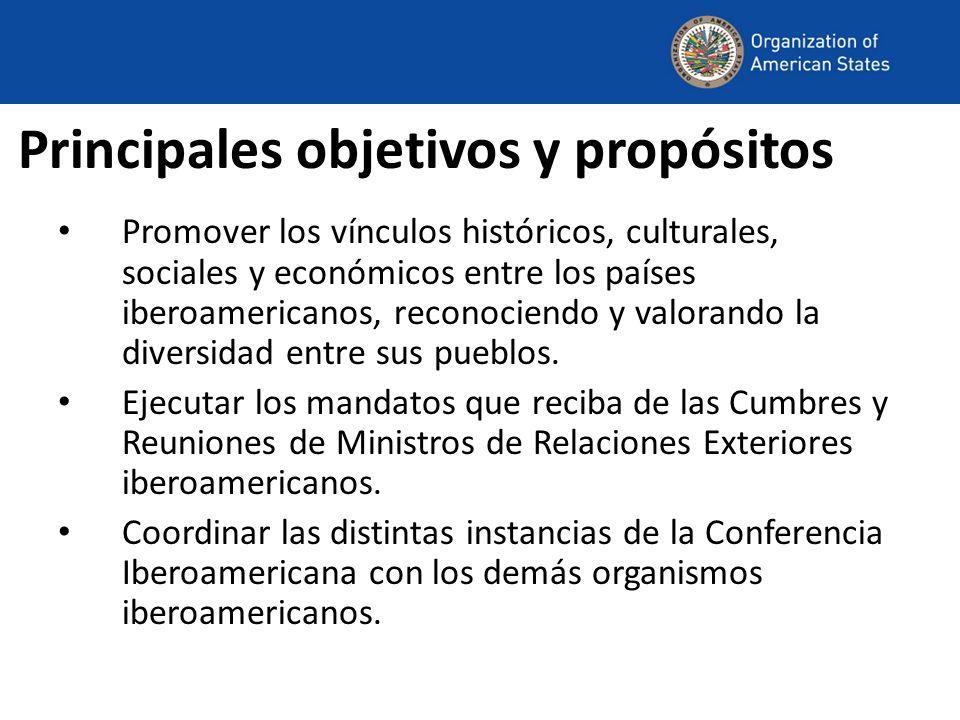 Principales objetivos y propósitos Promover los vínculos históricos, culturales, sociales y económicos entre los países iberoamericanos, reconociendo y valorando la diversidad entre sus pueblos.