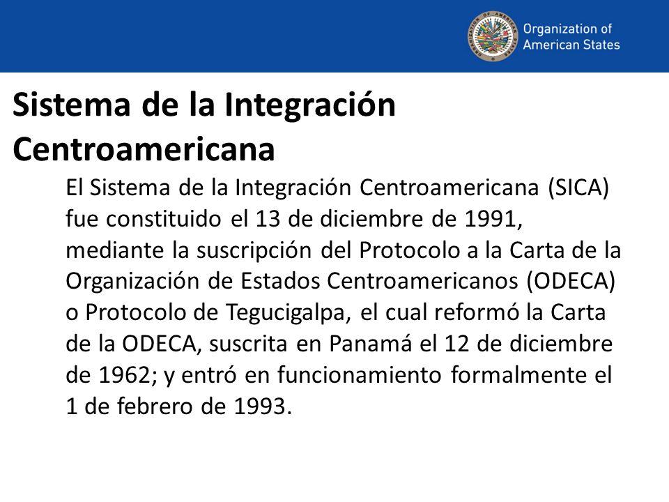 Sistema de la Integración Centroamericana El Sistema de la Integración Centroamericana (SICA) fue constituido el 13 de diciembre de 1991, mediante la suscripción del Protocolo a la Carta de la Organización de Estados Centroamericanos (ODECA) o Protocolo de Tegucigalpa, el cual reformó la Carta de la ODECA, suscrita en Panamá el 12 de diciembre de 1962; y entró en funcionamiento formalmente el 1 de febrero de 1993.