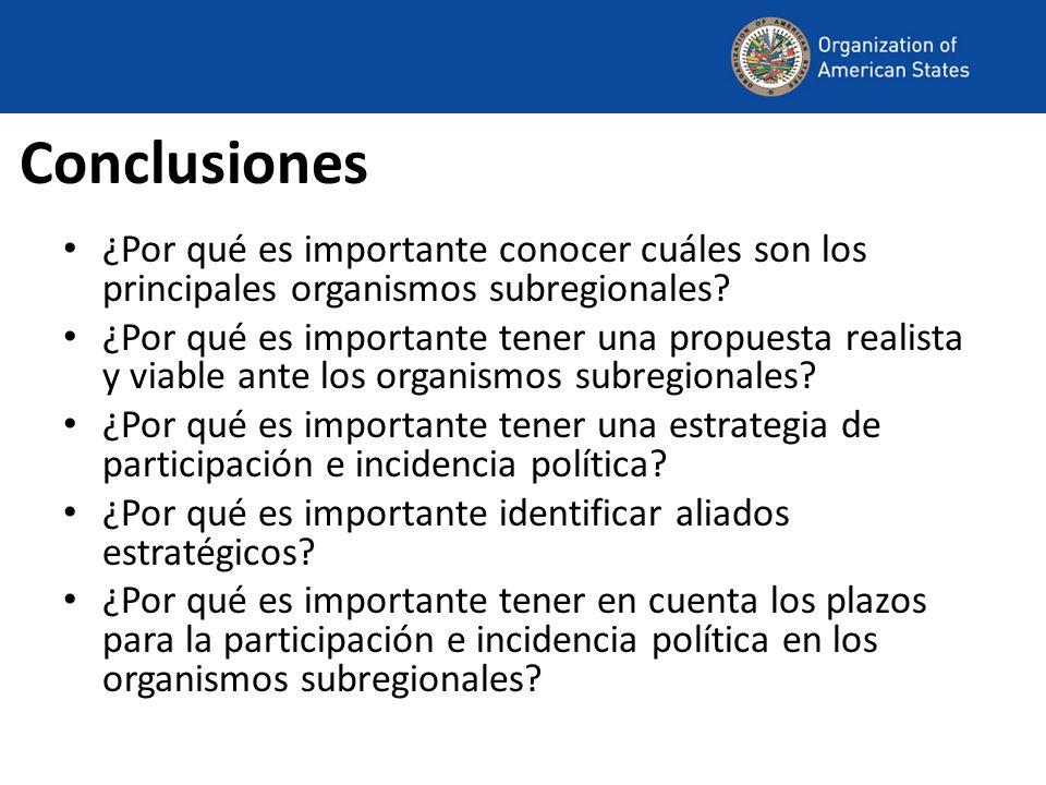 Conclusiones ¿Por qué es importante conocer cuáles son los principales organismos subregionales.