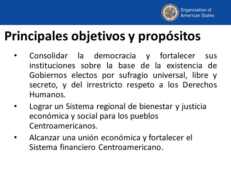 Principales objetivos y propósitos Consolidar la democracia y fortalecer sus instituciones sobre la base de la existencia de Gobiernos electos por sufragio universal, libre y secreto, y del irrestricto respeto a los Derechos Humanos.