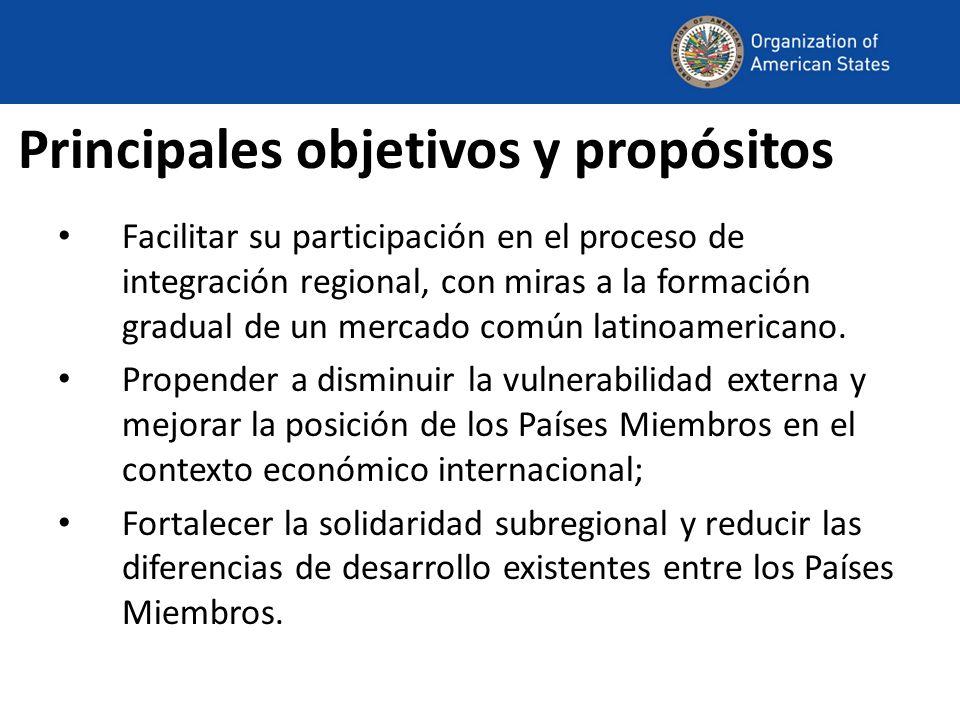 Principales objetivos y propósitos Facilitar su participación en el proceso de integración regional, con miras a la formación gradual de un mercado común latinoamericano.