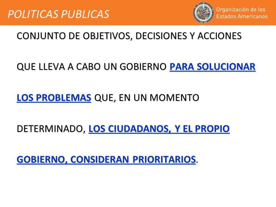 POLITICAS PUBLICAS CONJUNTO DE OBJETIVOS, DECISIONES Y ACCIONES QUE LLEVA A CABO UN GOBIERNO PARA SOLUCIONAR LOS PROBLEMAS QUE, EN UN MOMENTO DETERMINADO, LOS CIUDADANOS, Y EL PROPIO GOBIERNO, CONSIDERAN PRIORITARIOS.