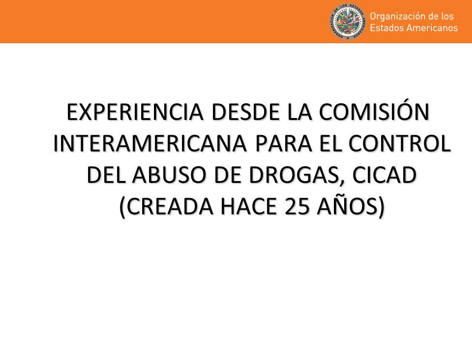 EXPERIENCIA DESDE LA COMISIÓN INTERAMERICANA PARA EL CONTROL DEL ABUSO DE DROGAS, CICAD (CREADA HACE 25 AÑOS) EXPERIENCIA DESDE LA COMISIÓN INTERAMERICANA PARA EL CONTROL DEL ABUSO DE DROGAS, CICAD (CREADA HACE 25 AÑOS)