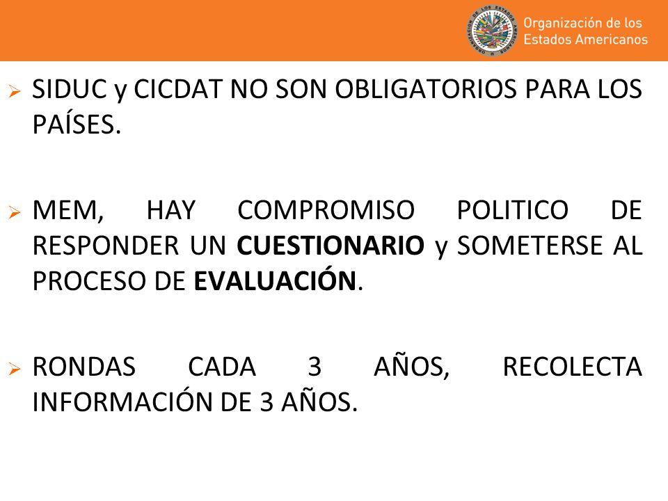 SIDUC y CICDAT NO SON OBLIGATORIOS PARA LOS PAÍSES.