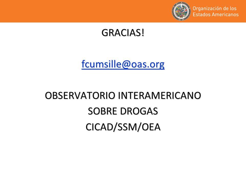GRACIAS!fcumsille@oas.org OBSERVATORIO INTERAMERICANO SOBRE DROGAS CICAD/SSM/OEA