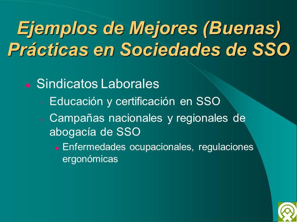 Ejemplos de Mejores (Buenas) Prácticas en Sociedades de SSO Sindicatos Laborales - Educación y certificación en SSO – Campañas nacionales y regionales