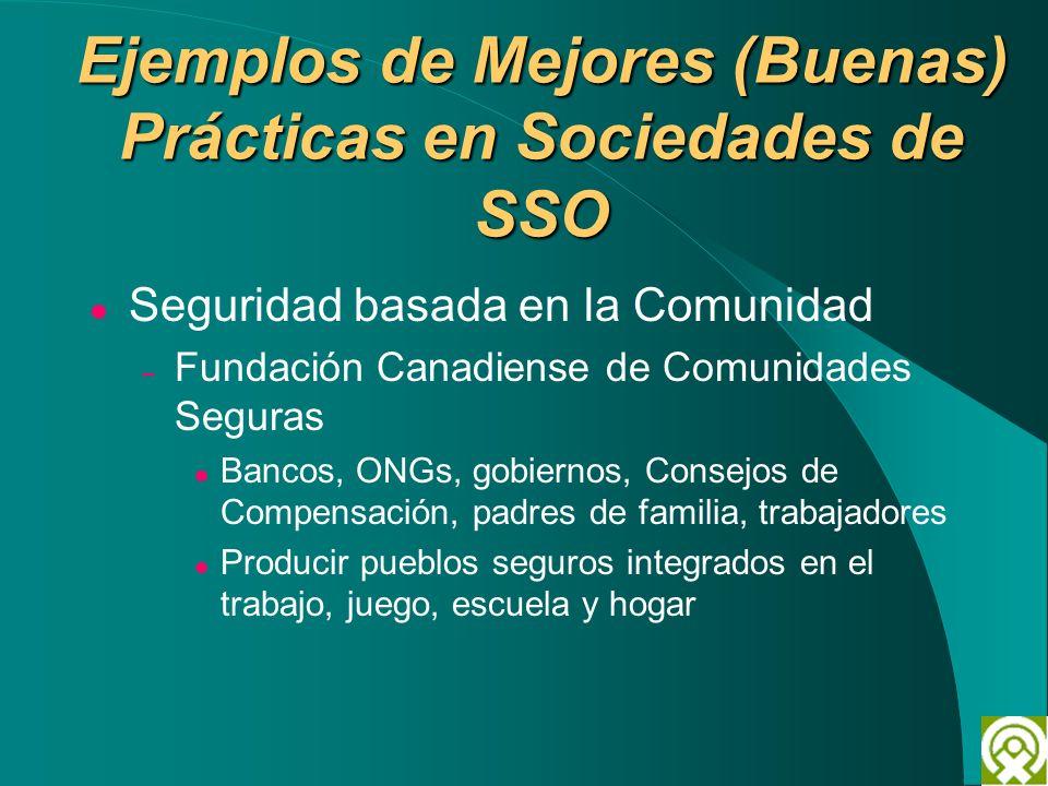 Ejemplos de Mejores (Buenas) Prácticas en Sociedades de SSO Seguridad basada en la Comunidad – Fundación Canadiense de Comunidades Seguras Bancos, ONG