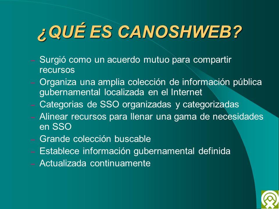 ¿QUÉ ES CANOSHWEB? – Surgió como un acuerdo mutuo para compartir recursos – Organiza una amplia colección de información pública gubernamental localiz