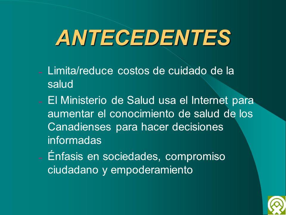 ANTECEDENTES – Limita/reduce costos de cuidado de la salud – El Ministerio de Salud usa el Internet para aumentar el conocimiento de salud de los Cana
