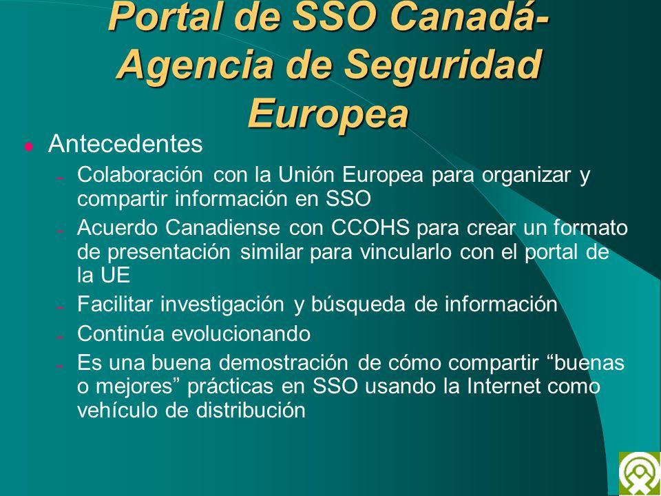 Portal de SSO Canadá- Agencia de Seguridad Europea Antecedentes – Colaboración con la Unión Europea para organizar y compartir información en SSO – Ac