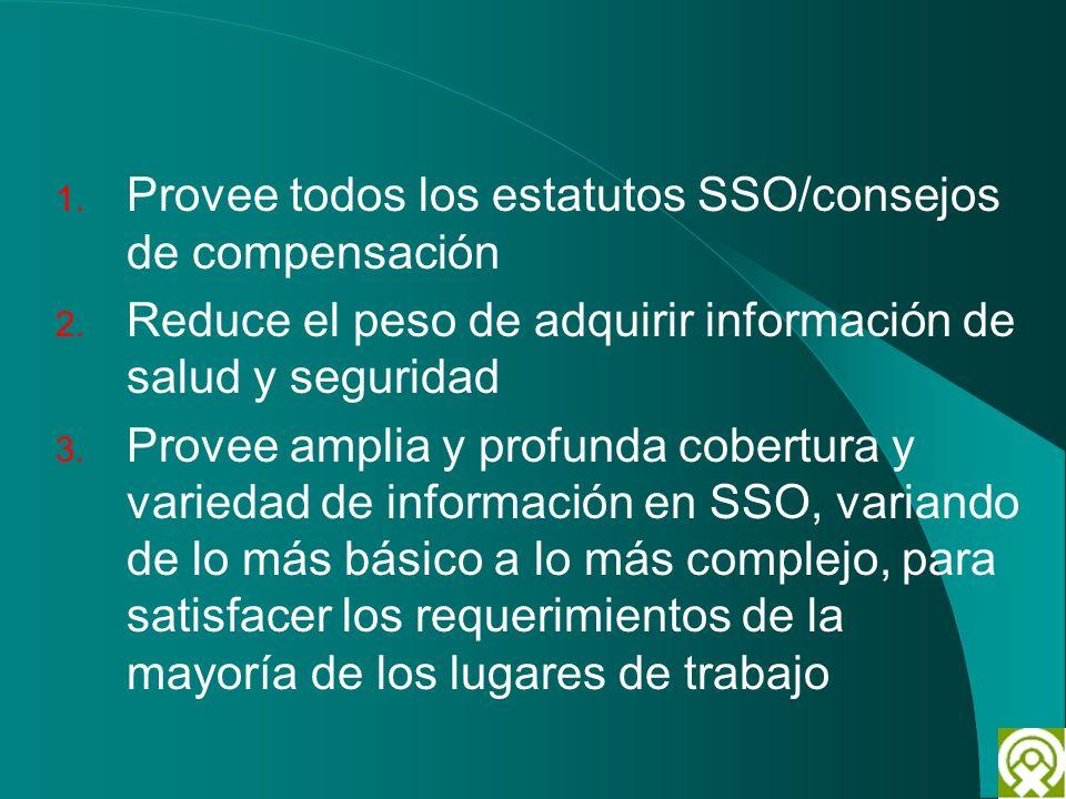 1. Provee todos los estatutos SSO/consejos de compensación 2. Reduce el peso de adquirir información de salud y seguridad 3. Provee amplia y profunda