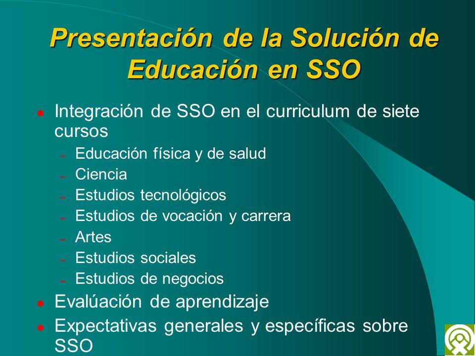 Presentación de la Solución de Educación en SSO Integración de SSO en el curriculum de siete cursos – Educación física y de salud – Ciencia – Estudios