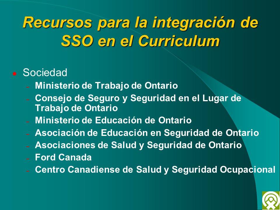 Recursos para la integración de SSO en el Curriculum Sociedad – Ministerio de Trabajo de Ontario – Consejo de Seguro y Seguridad en el Lugar de Trabaj
