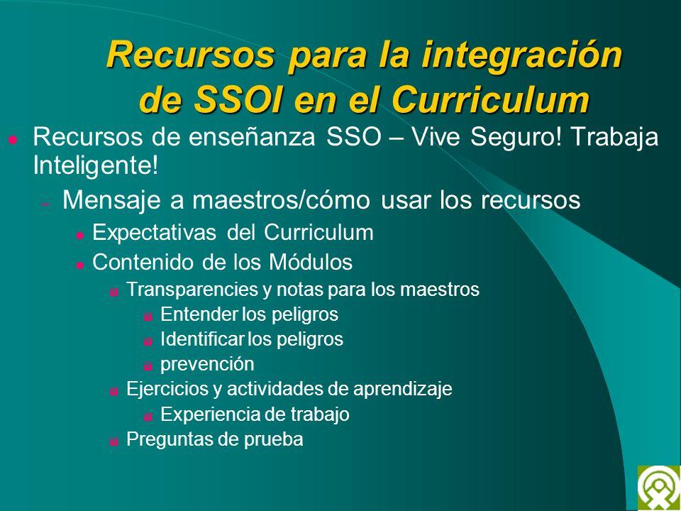 Recursos para la integración de SSOI en el Curriculum Recursos de enseñanza SSO – Vive Seguro! Trabaja Inteligente! – Mensaje a maestros/cómo usar los