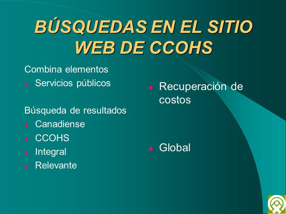 BÚSQUEDAS EN EL SITIO WEB DE CCOHS Combina elementos Servicios públicos Búsqueda de resultados Canadiense CCOHS Integral Relevante Recuperación de cos