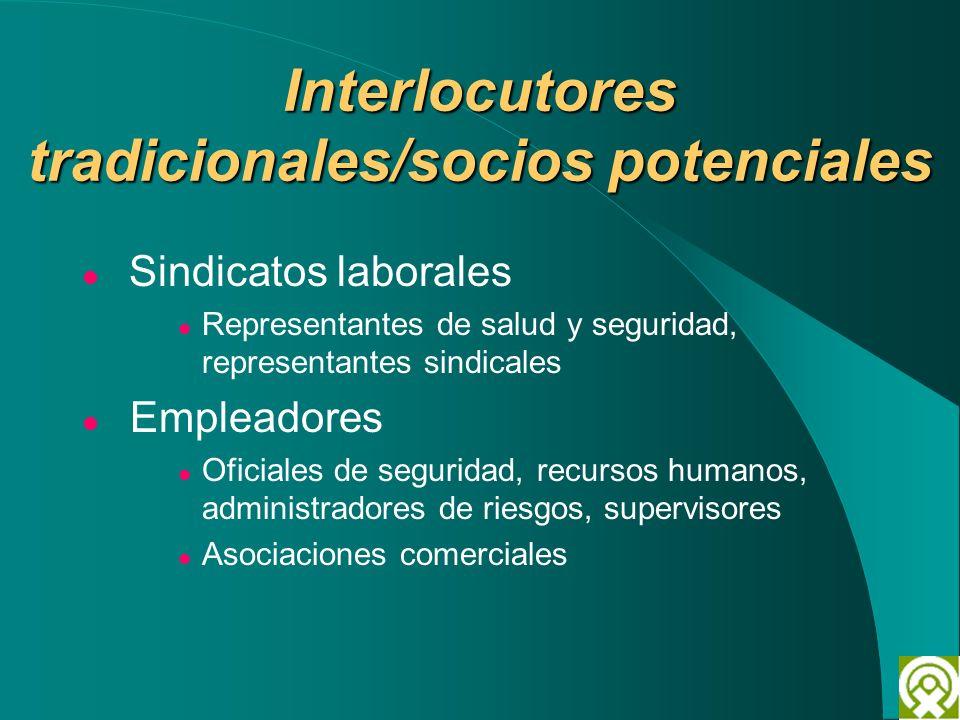 Interlocutores tradicionales/socios potenciales Sindicatos laborales Representantes de salud y seguridad, representantes sindicales Empleadores Oficia