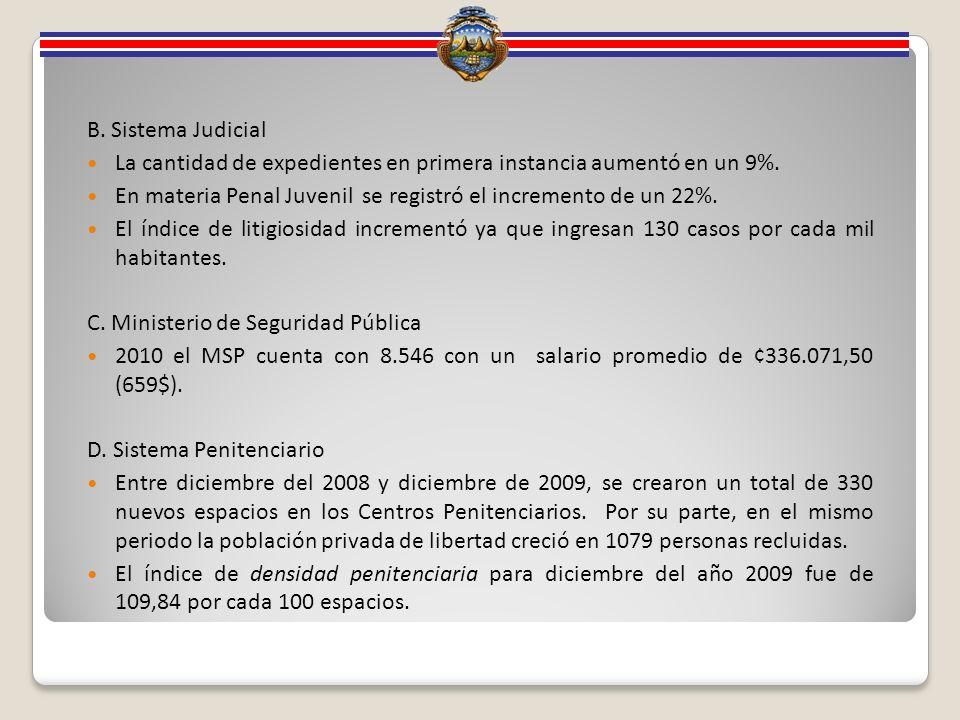 B. Sistema Judicial La cantidad de expedientes en primera instancia aumentó en un 9%.