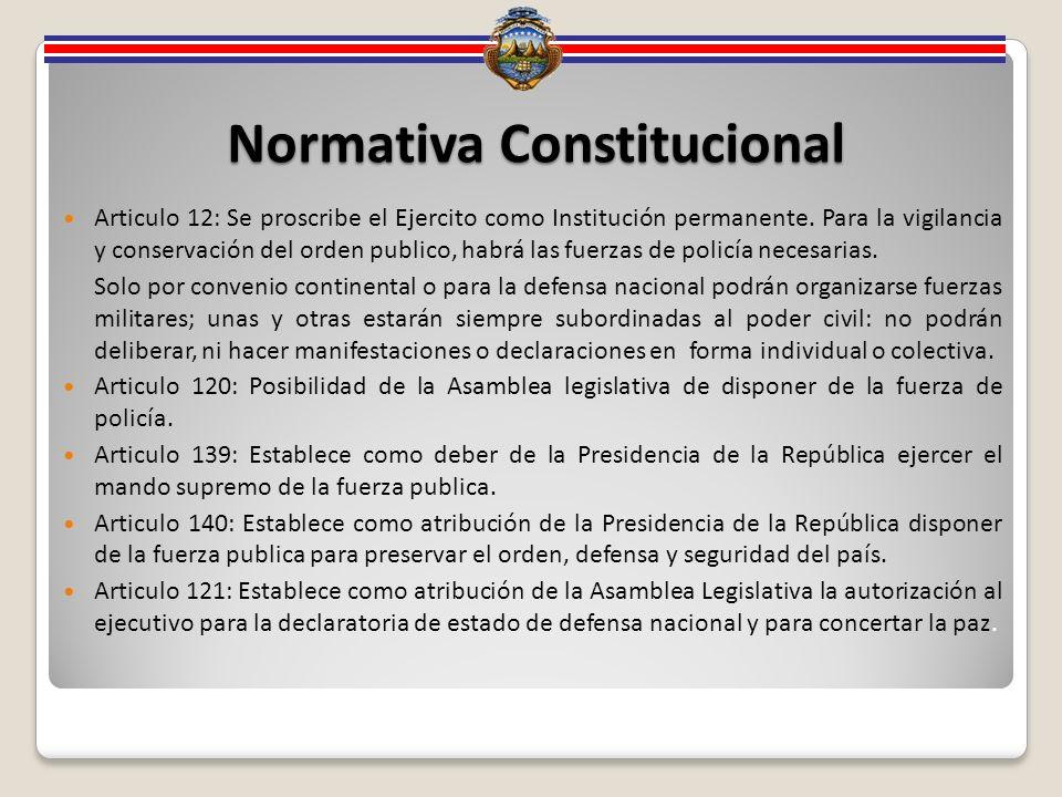 Normativa Constitucional Articulo 12: Se proscribe el Ejercito como Institución permanente.