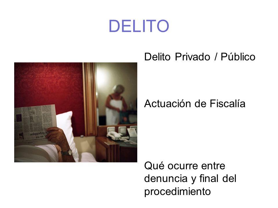 DELITO Delito Privado / Público Actuación de Fiscalía Qué ocurre entre denuncia y final del procedimiento