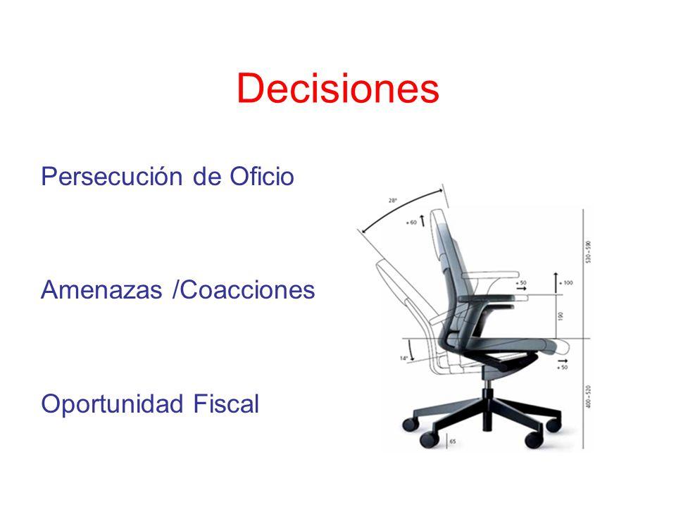 Decisiones Persecución de Oficio Amenazas /Coacciones Oportunidad Fiscal