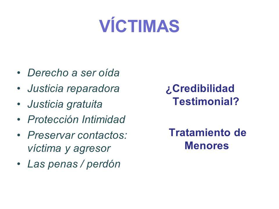 VÍCTIMAS ¿Credibilidad Testimonial? Tratamiento de Menores Derecho a ser oída Justicia reparadora Justicia gratuita Protección Intimidad Preservar con