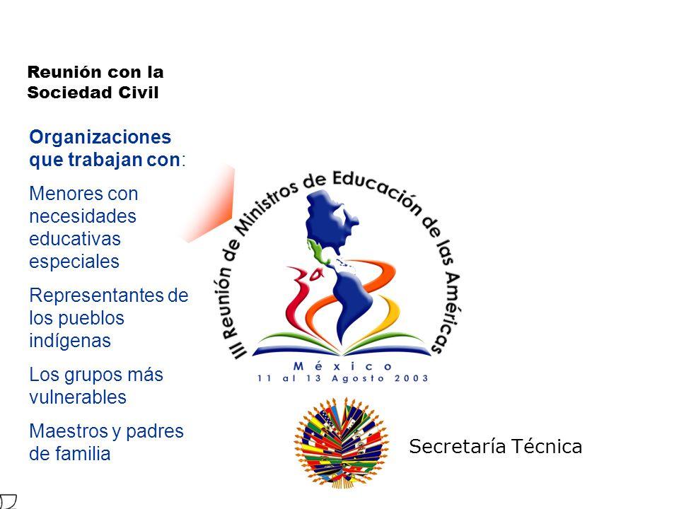 Secretaría Técnica Reunión con la Sociedad Civil Organizaciones que trabajan con: Menores con necesidades educativas especiales Representantes de los pueblos indígenas Los grupos más vulnerables Maestros y padres de familia