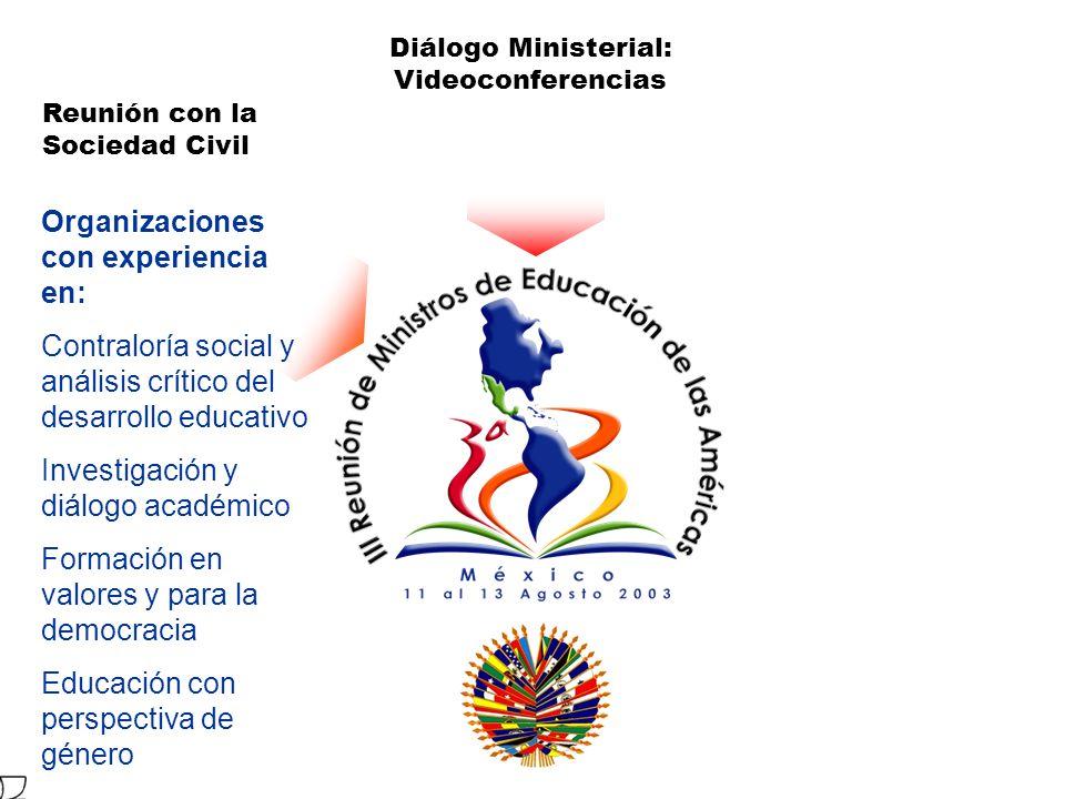 Organizaciones con experiencia en: Contraloría social y análisis crítico del desarrollo educativo Investigación y diálogo académico Formación en valores y para la democracia Educación con perspectiva de género Reunión con la Sociedad Civil Diálogo Ministerial: Videoconferencias