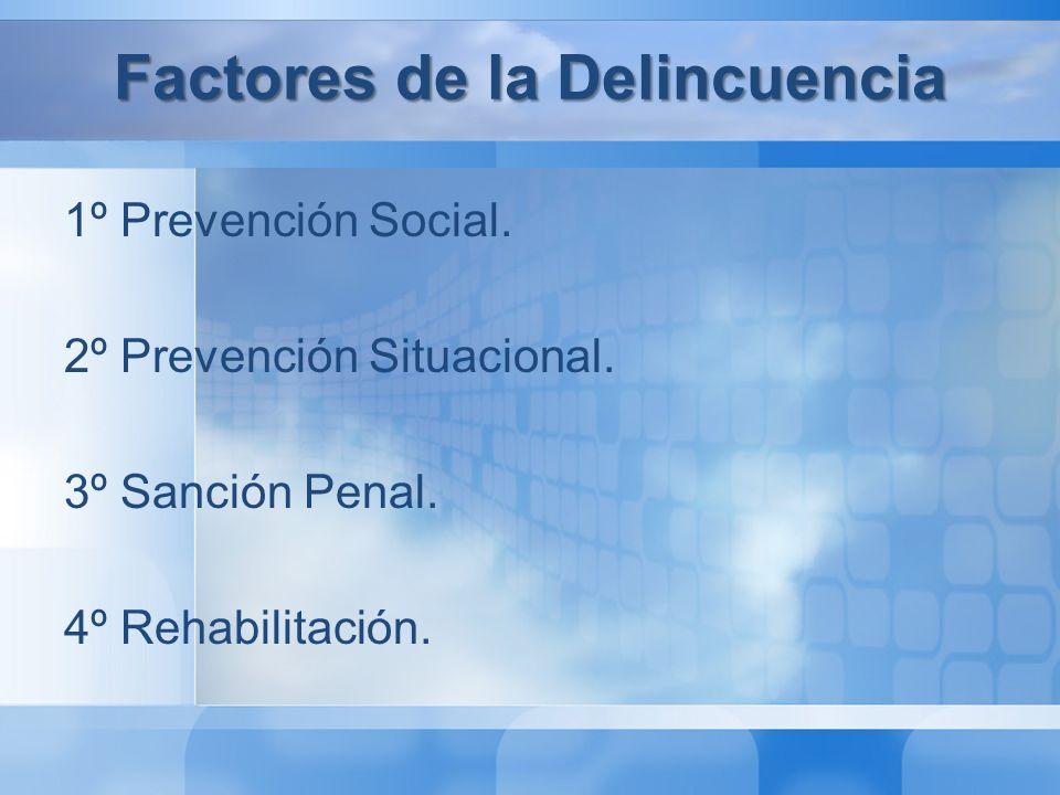 Factores de la Delincuencia 1º Prevención Social Históricamente se ha confundido con políticas sociales generales y no se ha focalizado lo suficiente en población vulnerable.