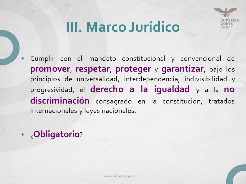III. Marco Jurídico Cumplir con el mandato constitucional y convencional de promover, respetar, proteger y garantizar, bajo los principios de universa