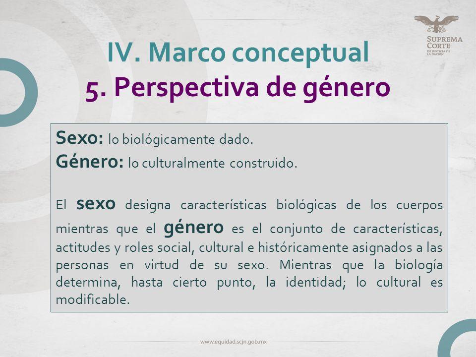 IV. Marco conceptual 5. Perspectiva de género Sexo: lo biológicamente dado. Género: lo culturalmente construido. El sexo designa características bioló