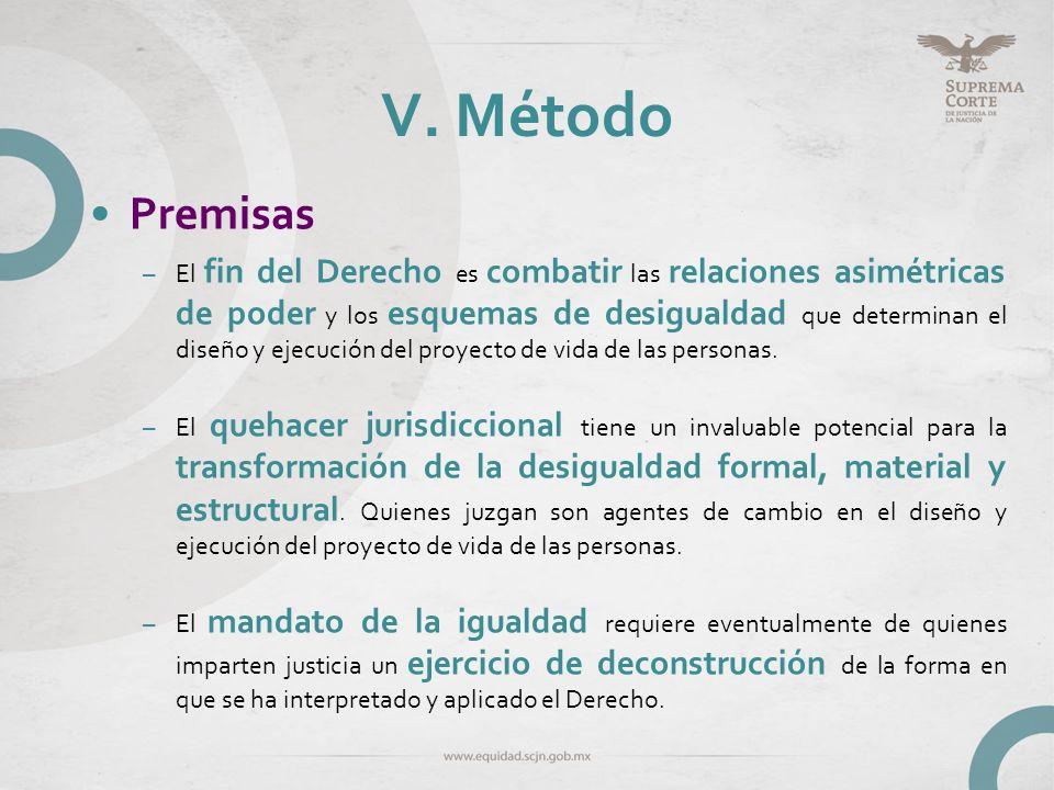 V. Método Premisas –El fin del Derecho es combatir las relaciones asimétricas de poder y los esquemas de desigualdad que determinan el diseño y ejecuc