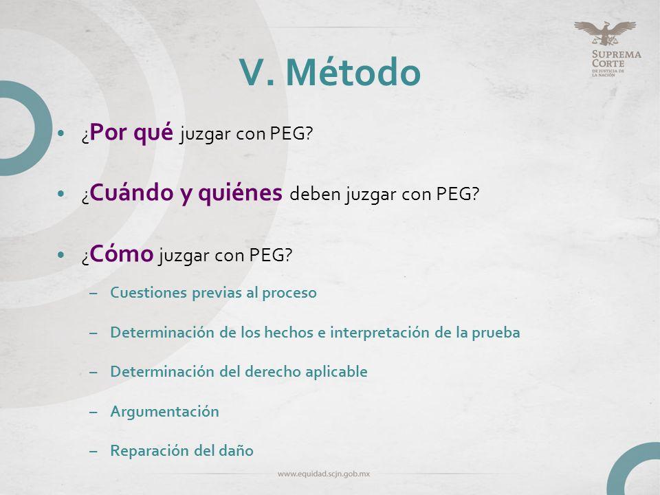 V. Método ¿ Por qué juzgar con PEG? ¿ Cuándo y quiénes deben juzgar con PEG? ¿ Cómo juzgar con PEG? –Cuestiones previas al proceso –Determinación de l