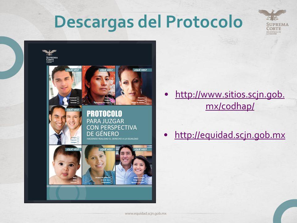 Descargas del Protocolo http://www.sitios.scjn.gob. mx/codhap/http://www.sitios.scjn.gob. mx/codhap/ http://equidad.scjn.gob.mx