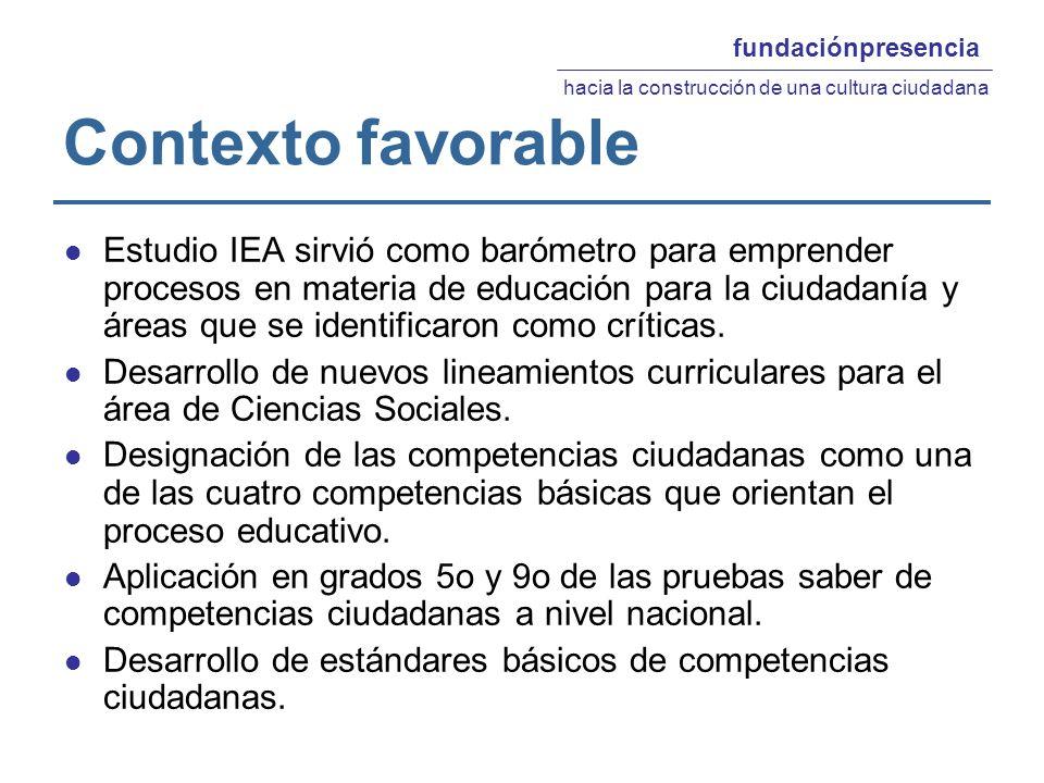 Contexto favorable Estudio IEA sirvió como barómetro para emprender procesos en materia de educación para la ciudadanía y áreas que se identificaron como críticas.