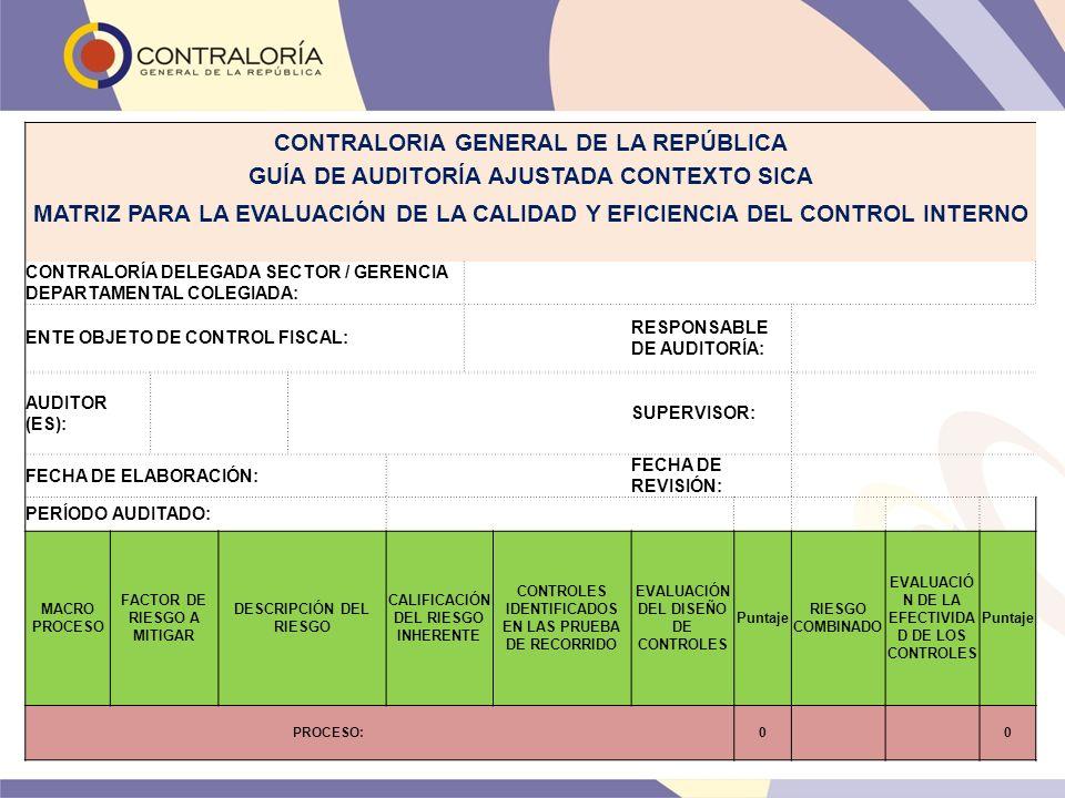 CONTRALORIA GENERAL DE LA REPÚBLICA GUÍA DE AUDITORÍA AJUSTADA CONTEXTO SICA MATRIZ PARA LA EVALUACIÓN DE LA CALIDAD Y EFICIENCIA DEL CONTROL INTERNO