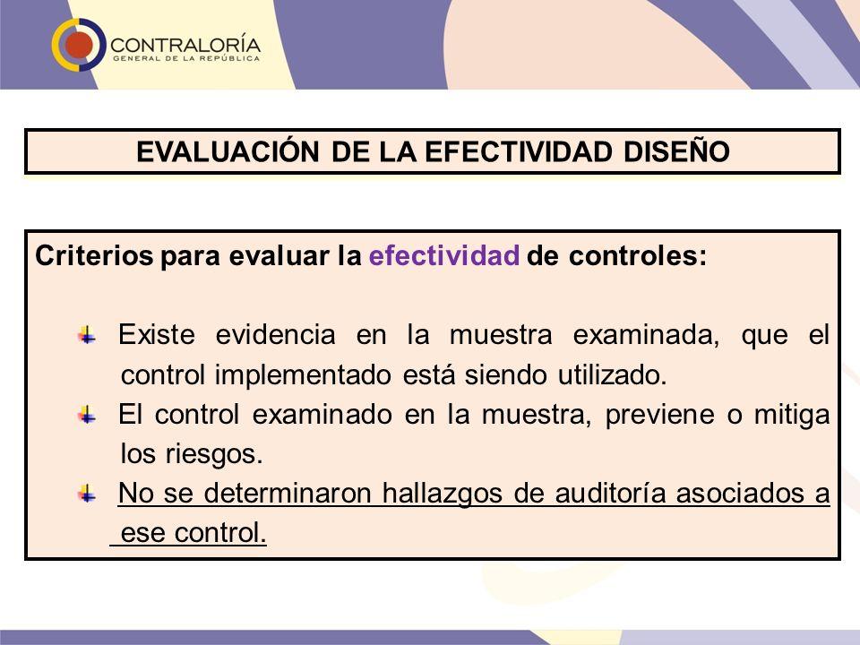 Criterios para evaluar la efectividad de controles: Existe evidencia en la muestra examinada, que el control implementado está siendo utilizado. El co