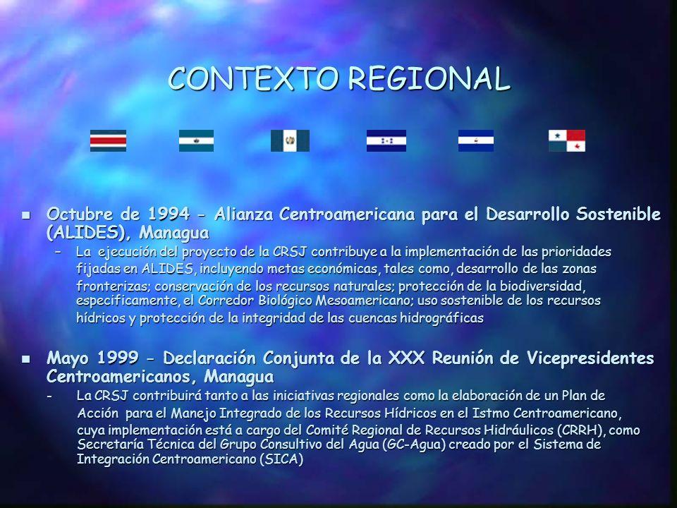 ORIGEN POLÍTICO Diciembre de 1992 - XIII Cumbre de Presidentes Centroamericanos, Panamá Diciembre de 1992 - XIII Cumbre de Presidentes Centroamericanos, Panamá - Primera expresión de apoyo para un acercamiento regional en el manejo de la CRSJ n Septiembre de 1993 - Foro de Vicepresidentes Centroamericanos, Guatemala - Los Vicepresidentes centroamericanos reiteraron su apoyo a los proyectos de desarrollo regional del Plan de Acción para el Desarrollo de Zonas Fronterizas, el cual menciona a la CRSJ como área prioritaria.
