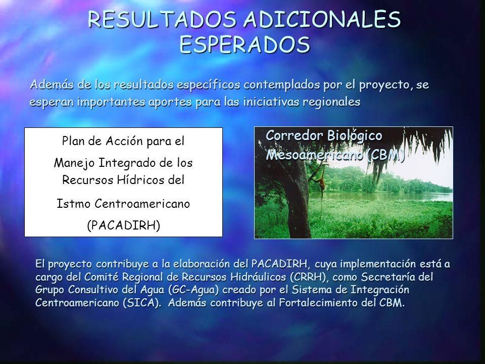 RESULTADOS ESPERADOS (Cont.) Programa de participación pública para la implementación del PEA Arreglos Institucionales binacionales, nacionales y loca
