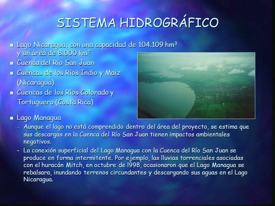 ÁREA DEL PROYECTO DE LA CUENCA DEL RIO SAN JUAN n Constituye la mayor reserva de agua dulce de Centroamérica n Zona Marino/Costera Incluye valiosos hábitats en la desembocadura del Río San Juan y la proyección de la sedimentación sobre la zona marina n Área Continental -Cubre 38.569 km 2, 24.684 km 2 (64%) en Nicaragua 13.885 km 2 (36%) en Costa Rica n Compartida por Costa Rica y Nicaragua Nicaragua Costa Rica