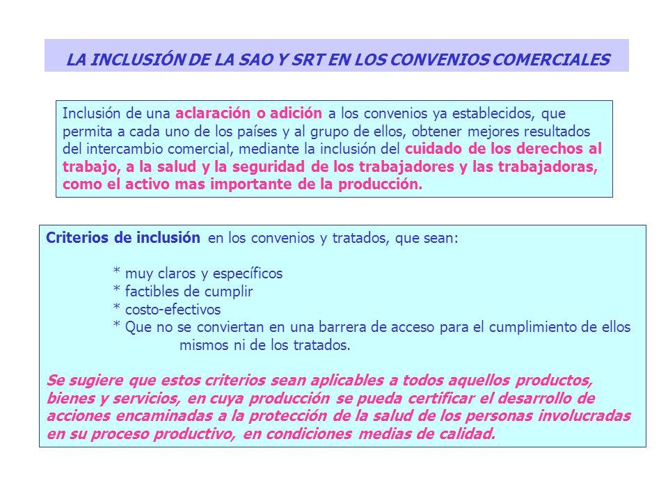 LA INCLUSIÓN DE LA SAO Y SRT EN LOS CONVENIOS COMERCIALES Inclusión de una aclaración o adición a los convenios ya establecidos, que permita a cada un