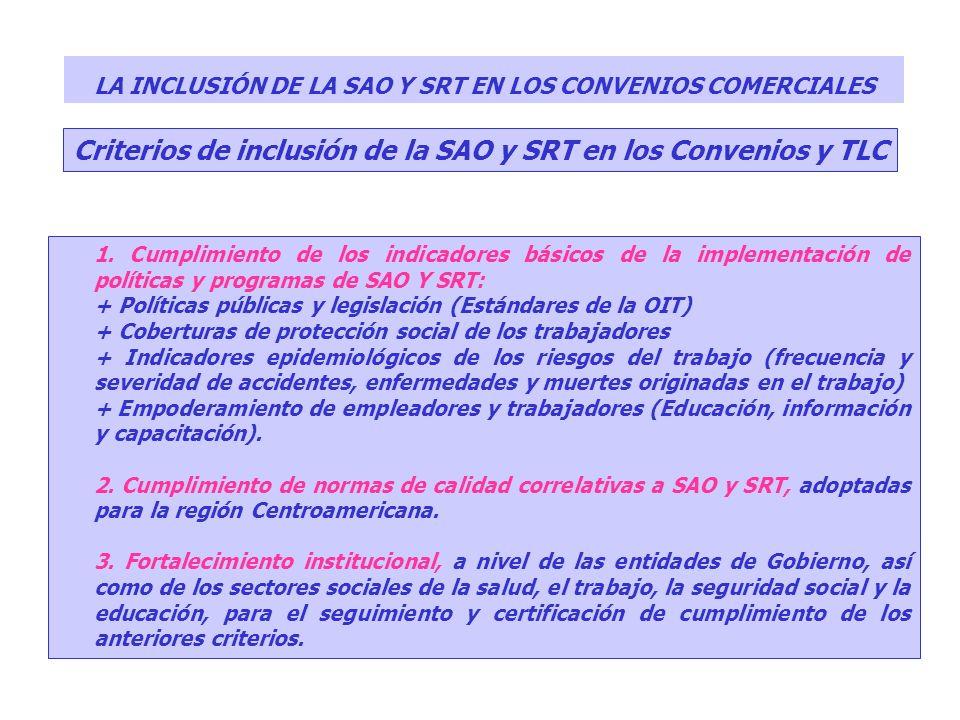 LA INCLUSIÓN DE LA SAO Y SRT EN LOS CONVENIOS COMERCIALES 1. Cumplimiento de los indicadores básicos de la implementación de políticas y programas de