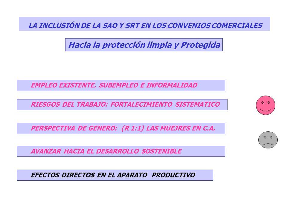 LA INCLUSIÓN DE LA SAO Y SRT EN LOS CONVENIOS COMERCIALES Hacia la protección limpia y Protegida EMPLEO EXISTENTE. SUBEMPLEO E INFORMALIDAD RIESGOS DE
