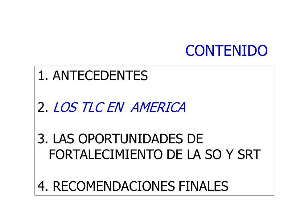 CONTENIDO 1. ANTECEDENTES 2. LOS TLC EN AMERICA 3. LAS OPORTUNIDADES DE FORTALECIMIENTO DE LA SO Y SRT 4. RECOMENDACIONES FINALES