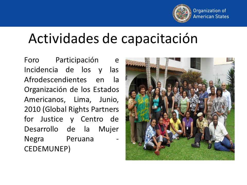 Actividades de capacitación Foro Participación e Incidencia de los y las Afrodescendientes en la Organización de los Estados Americanos, Lima, Junio, 2010 (Global Rights Partners for Justice y Centro de Desarrollo de la Mujer Negra Peruana - CEDEMUNEP)