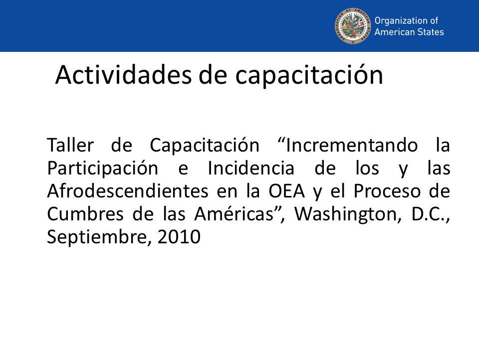 Actividades de capacitación Taller de Capacitación Incrementando la Participación e Incidencia de los y las Afrodescendientes en la OEA y el Proceso de Cumbres de las Américas, Washington, D.C., Septiembre, 2010