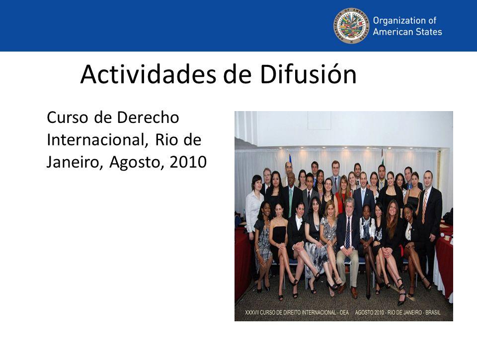 Actividades de Difusión Curso de Derecho Internacional, Rio de Janeiro, Agosto, 2010