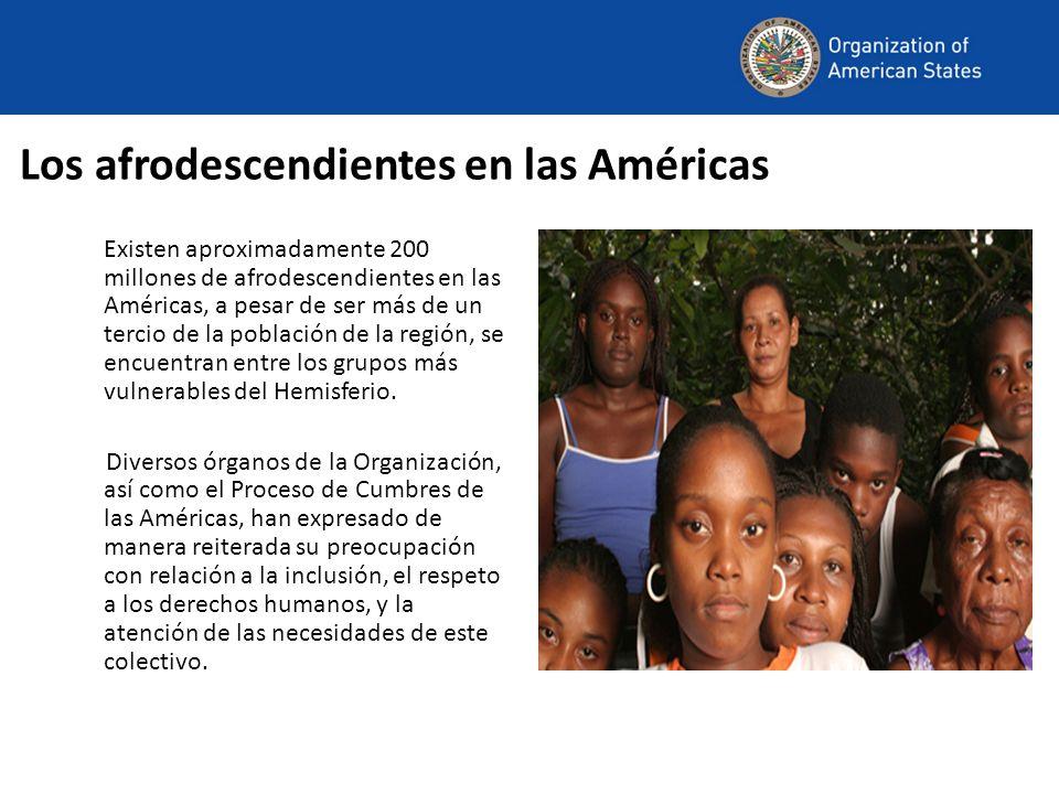 Los afrodescendientes en las Américas Existen aproximadamente 200 millones de afrodescendientes en las Américas, a pesar de ser más de un tercio de la población de la región, se encuentran entre los grupos más vulnerables del Hemisferio.