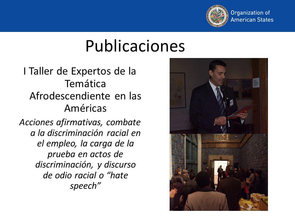 Publicaciones I Taller de Expertos de la Temática Afrodescendiente en las Américas Acciones afirmativas, combate a la discriminación racial en el empl