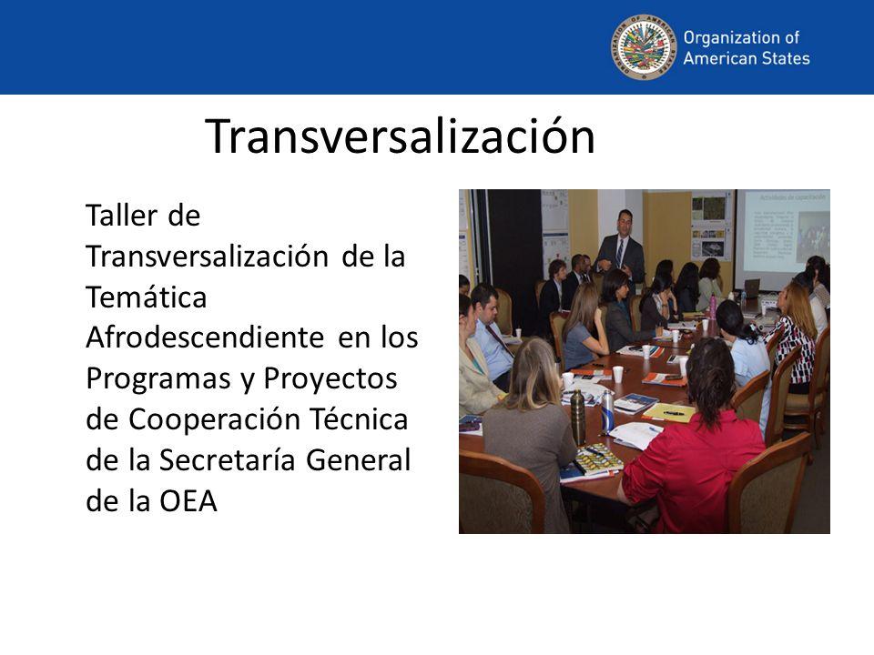 Transversalización Taller de Transversalización de la Temática Afrodescendiente en los Programas y Proyectos de Cooperación Técnica de la Secretaría General de la OEA